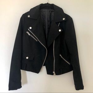 Black Faux Suede Moto Jacket with Silver Hardware